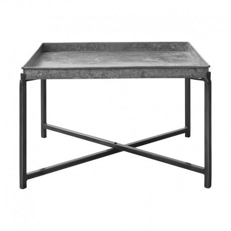 Table basse carrée style industriel métal acier brut House Hoctor Cool 70 x 70 cm