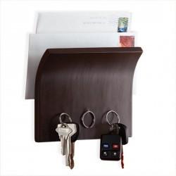 Porte clés mural design umbra magnetter bois foncé