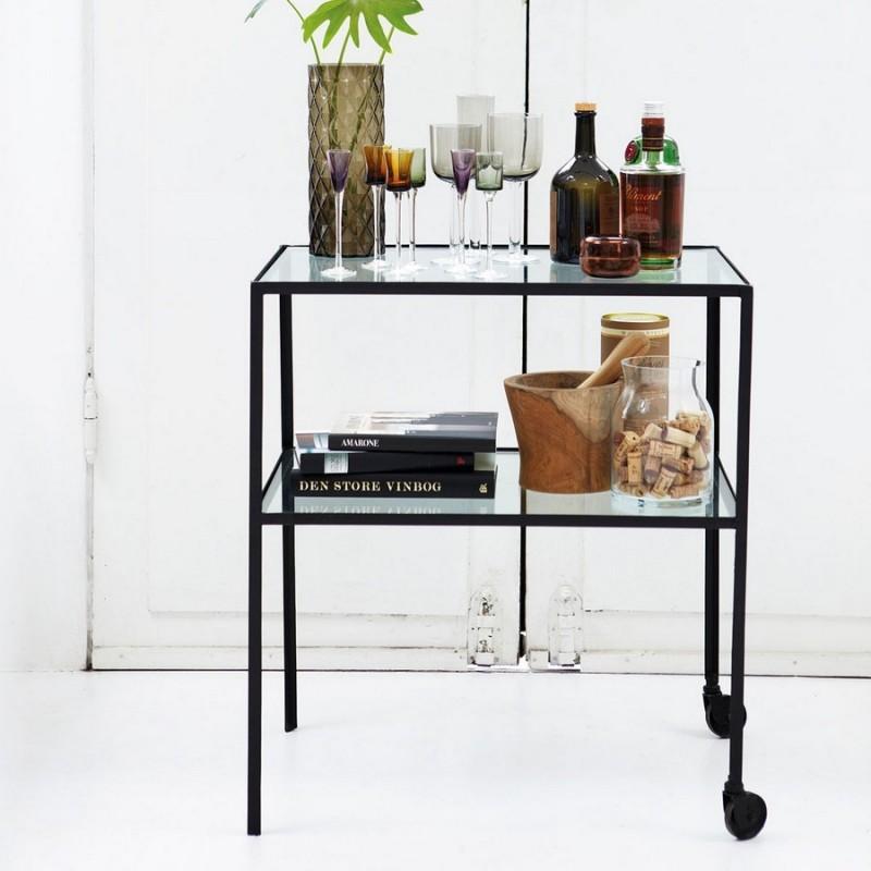 desserte metal verre design vintage epure minimaliste house doctor trolley br0153. Black Bedroom Furniture Sets. Home Design Ideas