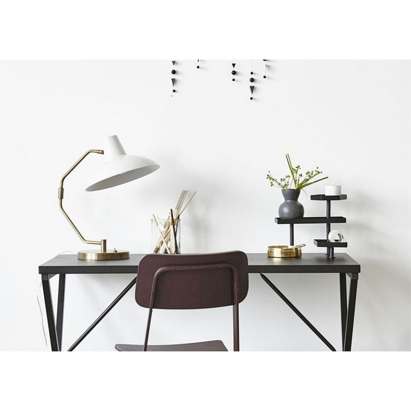 House doctor desk table de bureau design epure metal noir for Table de bureau design