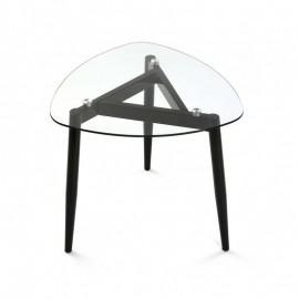 Table basse verre 3 pieds métal noir Versa Cristal