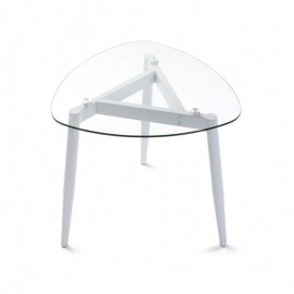 Table basse plateau en verre 3 pieds métal blanc Versa Cristal