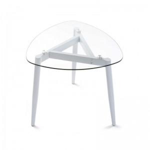 table basse plateau en verre 3 pieds metal blanc versa cristal 19840209