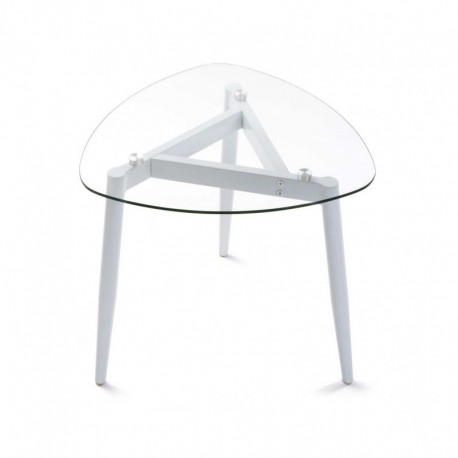 table basse plateau en verre 3 pieds metal blanc versa cristal 19840209. Black Bedroom Furniture Sets. Home Design Ideas