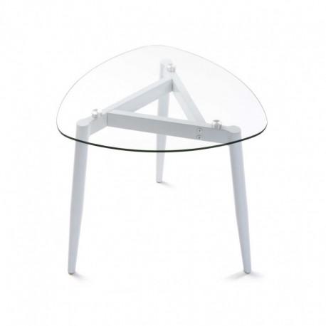 table basse plateau en verre 3 pieds metal blanc versa. Black Bedroom Furniture Sets. Home Design Ideas
