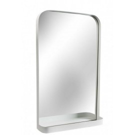 Miroir mural étagère métal blanc Versa 46 x 76 cm