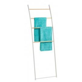 Echelle porte-serviettes séchoir métal blanc bois Zeller