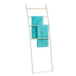 Echelle porte serviettes séchoir métal blanc bois Zeller