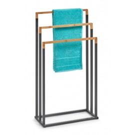 Porte-serviettes à poser design métal noir bois Zeller