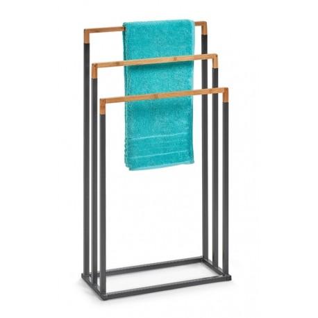 porte serviettes a poser design metal noir bois zeller 18727. Black Bedroom Furniture Sets. Home Design Ideas
