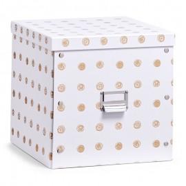 boite rangement carton cubique decorative blanche doree zeller 17554