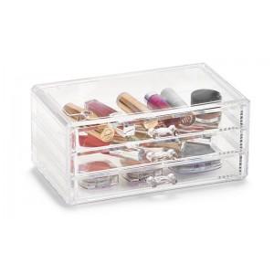Boîte rangement maquillage 3 mini tiroirs acrylique transparent Zeller