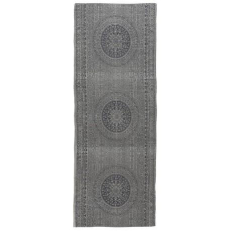 tapis long de couloir gris motif rosace rosette ib laursen 180 x 80 cm