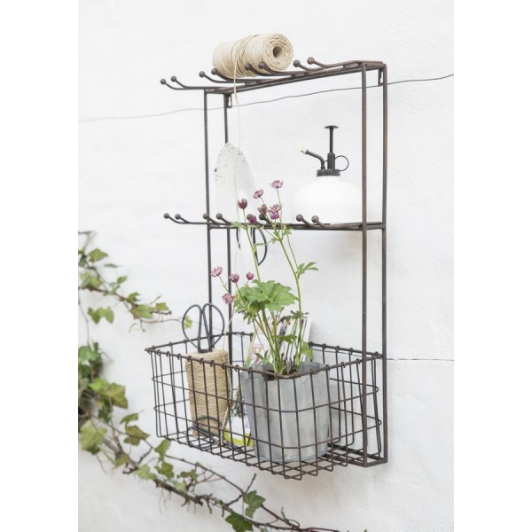 etagere murale cuisine porte verres metal vintage shabby chic ib laursen 7296 25. Black Bedroom Furniture Sets. Home Design Ideas