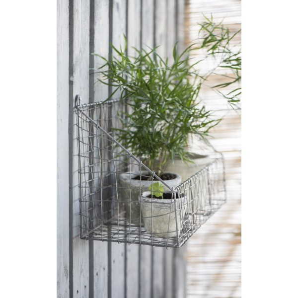 etagere murale panier grillage metal gris vintage ib laursen 5845 18. Black Bedroom Furniture Sets. Home Design Ideas