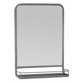 Miroir mural rectangulaire étagère vintage métal gris vieilli IB Laursen