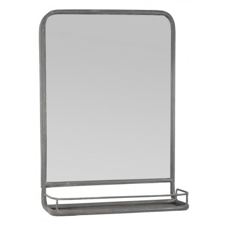 Miroir mural étagère vintage métal gris vieilli IB Laursen