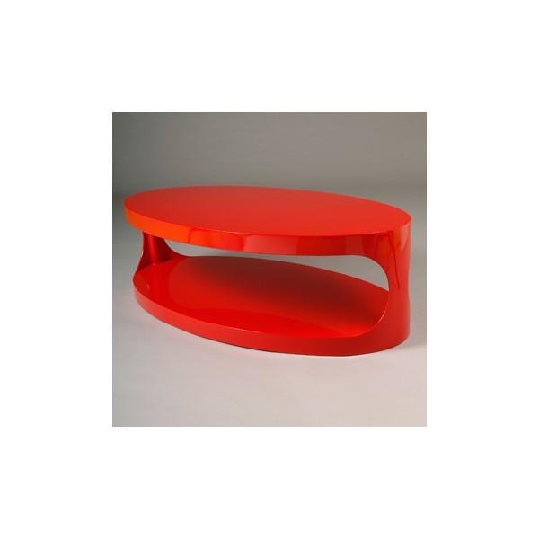 Table basse design ovale rouge koval kdesign - Table basse design rouge ...