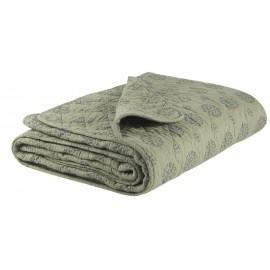 Couverture plaid coton matelassé vert olive motif gris IB Laursen