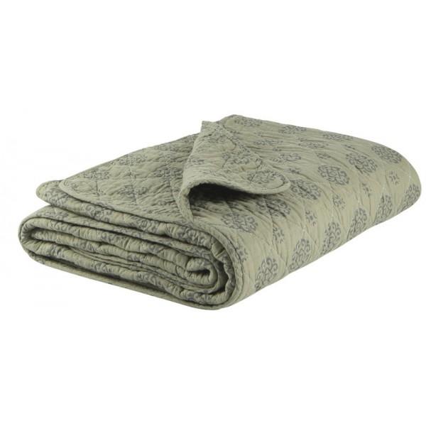 couverture plaid coton matelasse vert olive motif gris ib laursen 0760 29. Black Bedroom Furniture Sets. Home Design Ideas