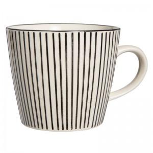 tasse en gres rayures verticales noir et blanc casablanca ib laursen 1552-24