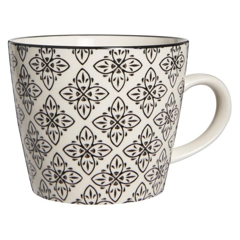 ib laursen tasse a cafe gres motif floral noir et blanc casablanca 1562 24. Black Bedroom Furniture Sets. Home Design Ideas
