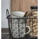 Tasse à café grès motif floral noir et blanc Casablanca IB Laursen