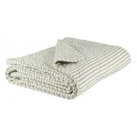 IB Laursen Decke weiße Streifen olivgrün 180x130cm Tagesdecke Überwurf Quilt Steppdecke