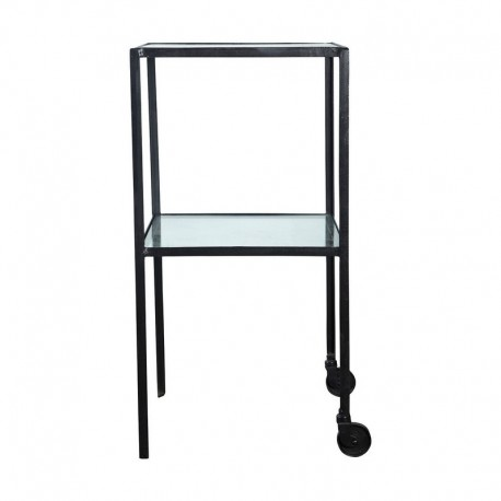 house doctor trolley table d appoint metal style retro industriel verre Br0154