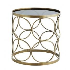 Table basse ronde métal laiton antique verre noir style art déco Madam Stoltz