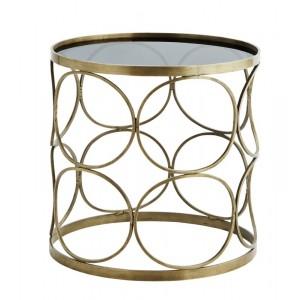 Table basse ronde métal laiton verre noir style art déco Madame Stoltz