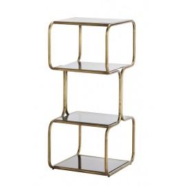 etagere a poser vintage retro metal dore 4 niveaux verre noir madame stoltz I023