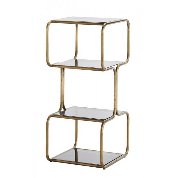etagere a poser vintage retro metal dore 4 niveaux verre noir madame stoltz i023. Black Bedroom Furniture Sets. Home Design Ideas