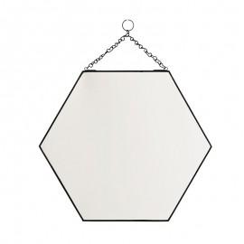 Miroir hexagonal à suspendre métal noir Madam Stoltz