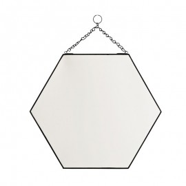 miroir hexagonal a suspendre metal noir chaine madam stoltz IB-350402ABL