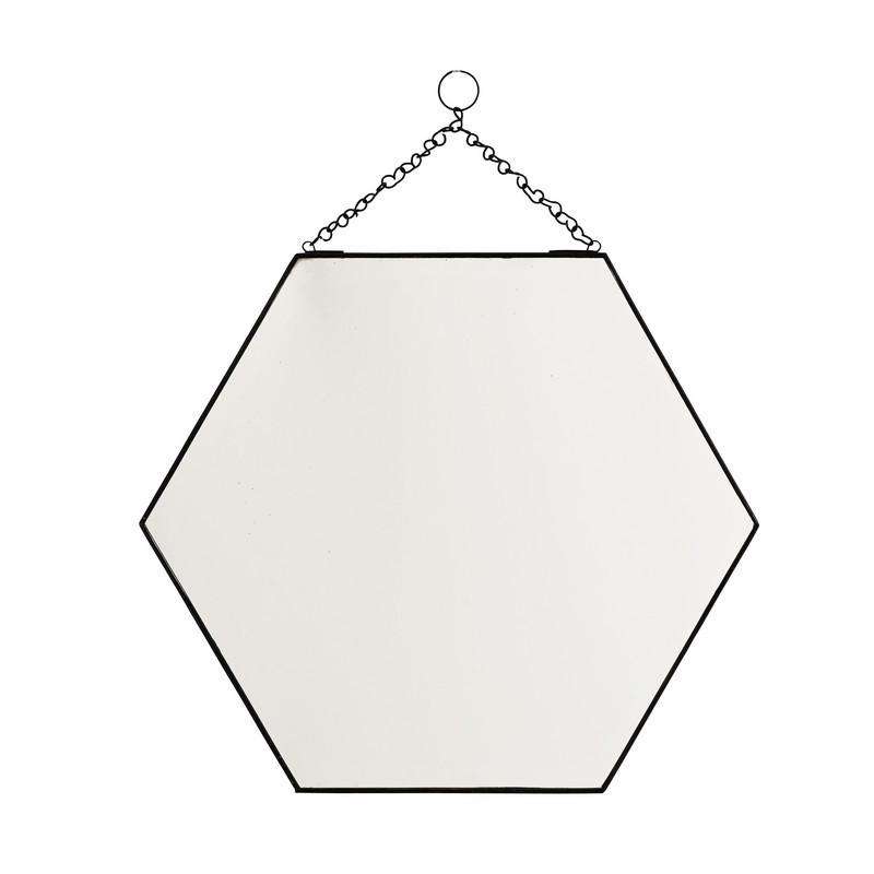 Miroir hexagonal a suspendre metal noir chaine madam for Miroir hexagonal