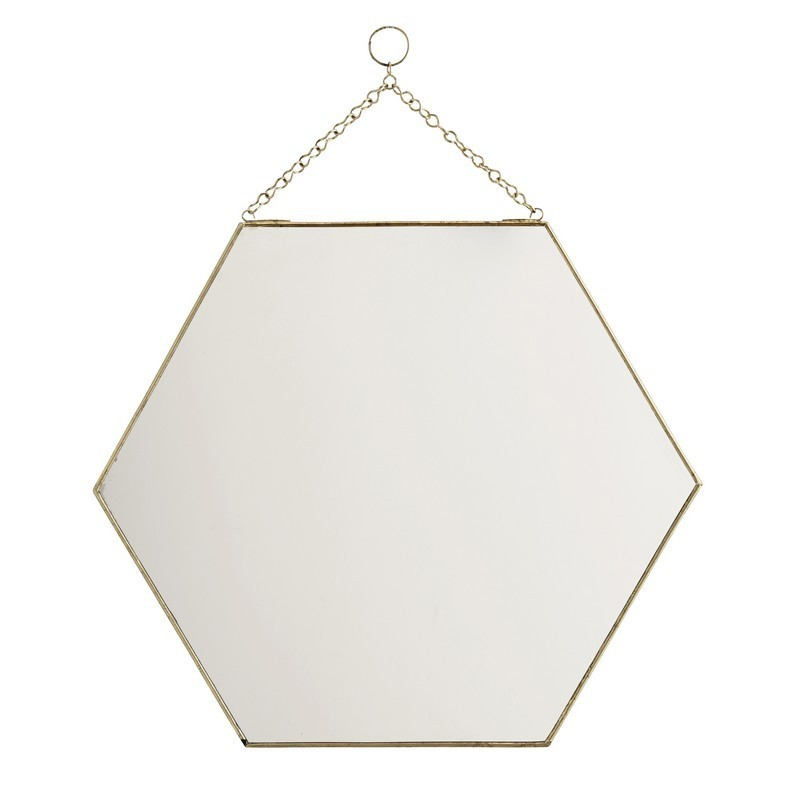 Miroir hexagonal dore laiton a suspendre madam stoltz ib for Miroir hexagonal
