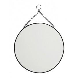 miroir rond vintage a suspendre metal noir madam stoltz IB-980030-30BL