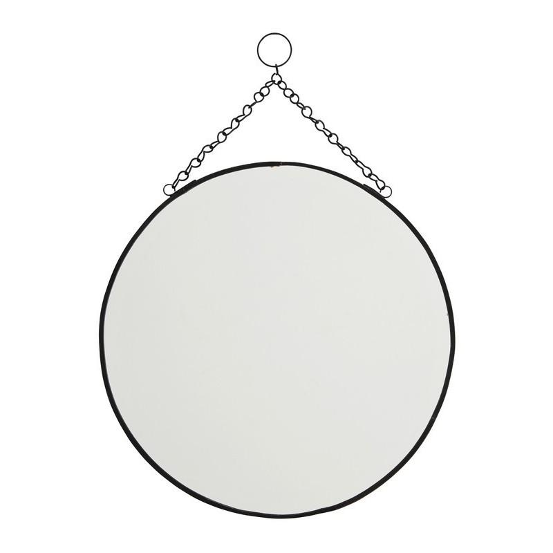 Miroir rond vintage a suspendre metal noir madam stoltz ib for Miroir rond noir