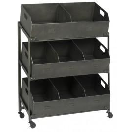 Etagère sur roulettes 8 casiers style industriel vintage métal noir IB Laursen