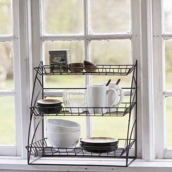 etagere a poser rangement cuisine metal grillage deco campagne chic ib laursen 7221 25. Black Bedroom Furniture Sets. Home Design Ideas