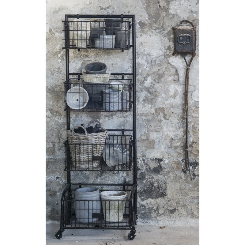 etagere rangement 4 paniers a roulettes metal industriel ib laursen 8203 25. Black Bedroom Furniture Sets. Home Design Ideas