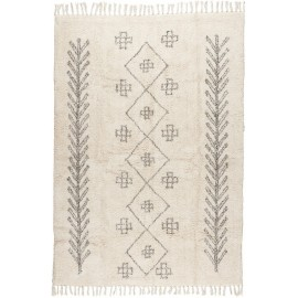 tapis moelleux ib laursen blanc creme motif noir 120 x 180 cm 6569-00