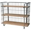 etagere rangement sur roulettes industrielle bois metal 3 niveaux ib laursen 8273-25