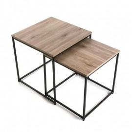 Deux tables basses carrées gigognes métal noir bois Versa Meno