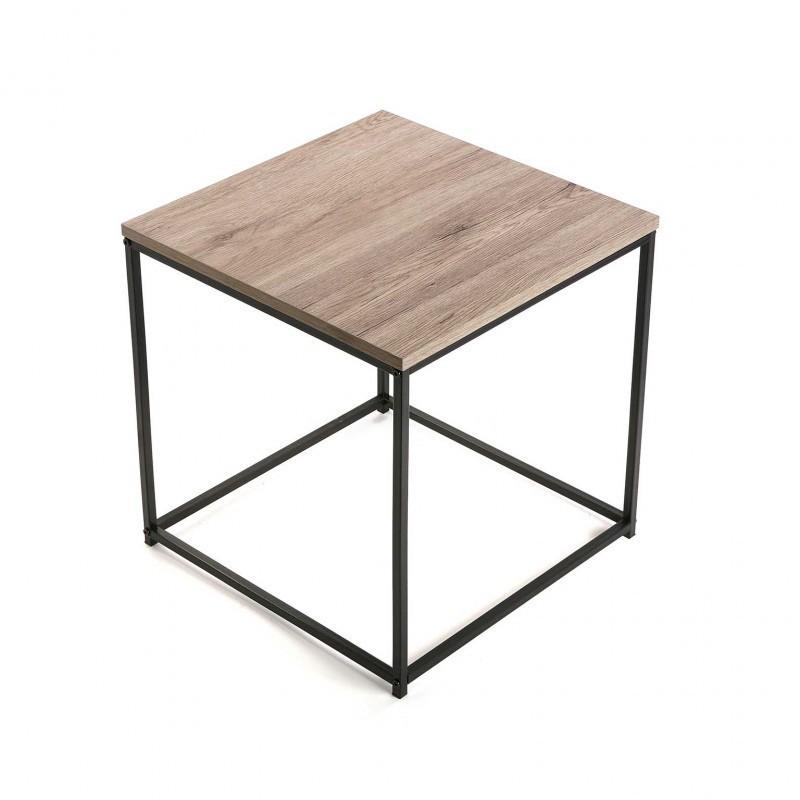 deux tables basses carrees gigognes metal noir bois versa. Black Bedroom Furniture Sets. Home Design Ideas