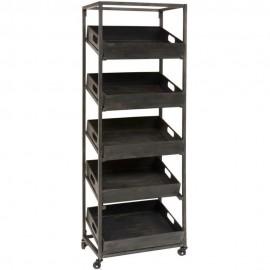 etagere industrielle a roulettes 5 niveaux caisses metal ib laursen 7285-25