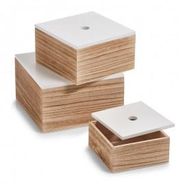 Set de 3 boîtes carrées en bois couvercle blanc Zeller
