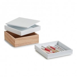 3 boites rangement maquillage superposees bois zeller 15171