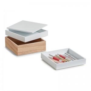 Set de 3 boîtes rangement maquillage superposées bois Zeller
